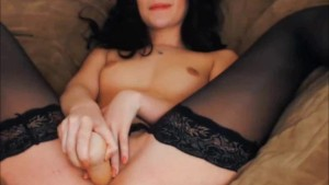 Wet hottie in stockings making her cum with a toy
