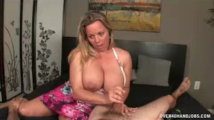 Step-mom Threatens Him And Then Jerks His Thick Cock