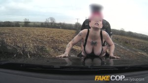 Fake Cop Policeman spunks over her tits and tattoos