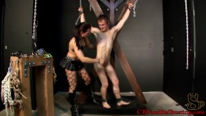 CBT Mistress Cheyenne ball busts a new slave