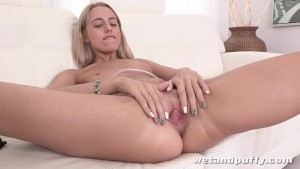 Sultry blonde darling playing