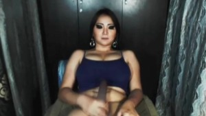 Busty Shemale Sucks Her 13 Inch Cock Until She Cums