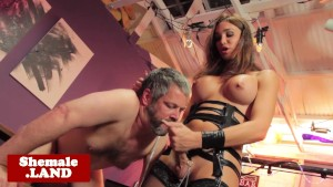 Shemale dom tastes subs cum after handjob