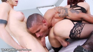 Nina Lawless Ass Fucks a Tranny and Blows Guy