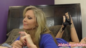 Busty Milf Julia Ann Jacks Him Off With Fake Pussy!
