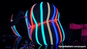 Samantha Saint on her black light set