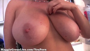 Big Titty Maggie Green Plays in Kitchen!