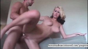 Busty blond amateur fucked on