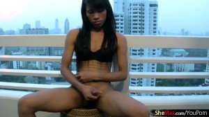 Asian shemale gets naked outdoors and sucks big cock in POV