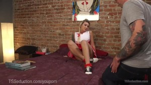 Hot TS Cheerleader Seduces Dorky Tutor