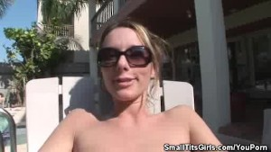 Small Tit Honey Teasing By the Pool