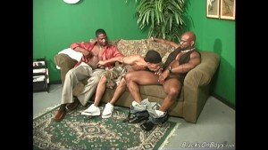 Thin twink gets fucked by two black guys