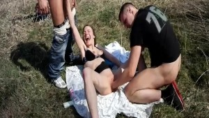 Roughly fisting skinny teen slut in public