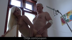 Horny young nurse fucking sick grandpa like doctor ordered