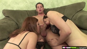 BrokenTeens - Horny Babes Share a Cock