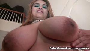 Busty milf Mia Jones strips off and fucks a dildo