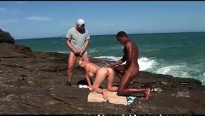 sizzling sexy blonde tourist got dp by brazilian studs