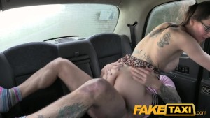 FakeTaxi Big tits tattoos and sexy glasses