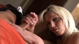 Sexy amateur blonde jerking dick 2