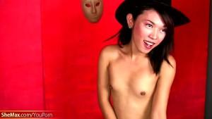 Alluring Filipino ladyboy plays with her suckable cock head