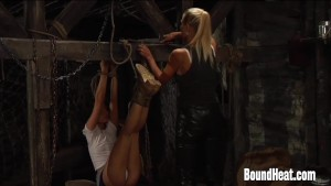 Lesbian Huntress Playing With Tied Up Slave
