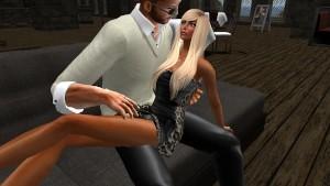 Fred Adjani et une femme virtuelle qui passent un moment romantique au Domaine