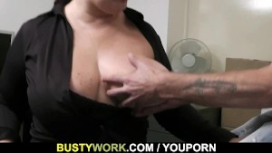 Office sex with busty women at work
