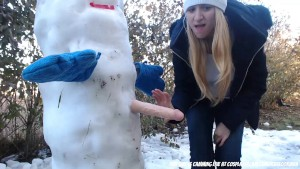 College girl fucking her snowman with a dildo