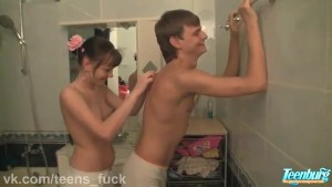 Beautiful couple is engaged in sex in the bathroom