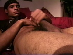 Black athletic guy jacking off