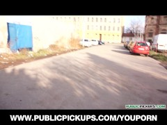 Stunning young blond is picked up & paid to fuck in a parking lot