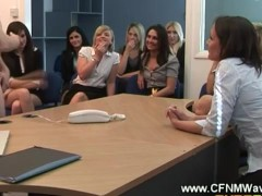 Dirty office sluts get guy to strip off infront of them