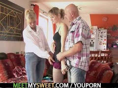 Perverted parents seduces their son's GF