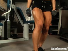 Aziani Iron female bodybuilder works out nude and shows big clit