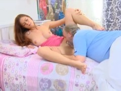 Redhead cutie wakes up with a headache and gets anal sex treatment from old doctor