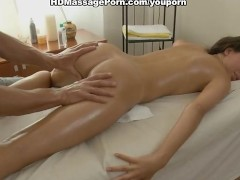 young brunette smeared with oil to massage and fucked properly