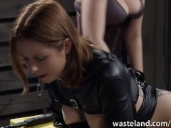 Female submissive gets her ass spanked by fem dom