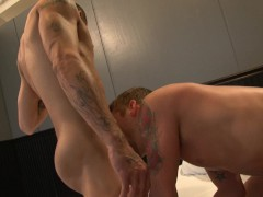 Horny dudes can't wait to whip their cocks out and fuck each other