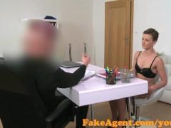 FakeAgent Skinny brunette babe sucks and fucks in casting