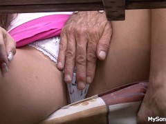 Nasty girl riding old granpa dick