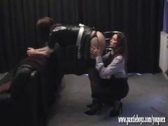 Busty Mistress gives her sexy latex crossdresser pantie maid ass spanking