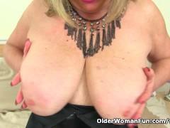 British milf Alisha Rydes masturbates in fishnet tights