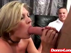 Donny Long fucks and facials dude wife in front of him
