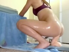 AsianSexPorno.Com - Chinese girlfriend oil up and rides 10 inch toy ball deep anal