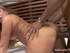 Latina MILF bends over and takes a huge cock in her tight pussy and ass