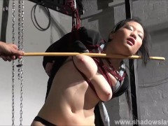 Japanese spanking and asian suspension bondage of oriental kimono submissive Devil in strict rope works and bamboo caning
