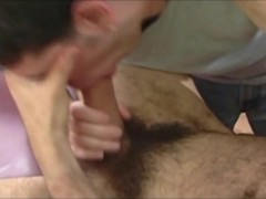 Bald Hairy Italian Straight Guy Gets Blowjob and Massage from Younger Guy