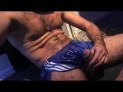 TIERY B. - HOT STUD MASTURB - Thick load - Big cumshot - Sperm play - Nylon short - Sexy male - French amateur