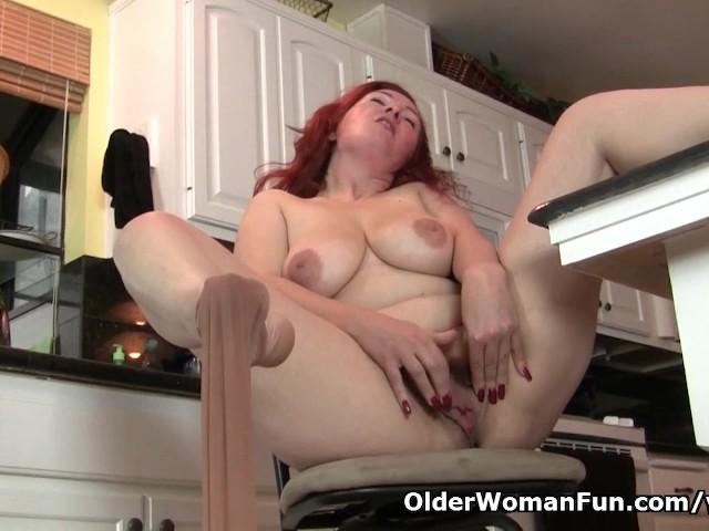 Pantyhosed milf Jessica O Hare masturbates in kitchen