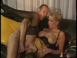 Guy fucks hot blonde on leather couch...